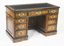 Antique Burr Walnut & Ebonised Marquetry Pedestal Desk