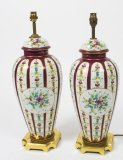Large Pair French Ormolu Mounted Red Sevres vases lamps Mid Century