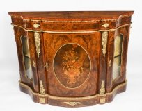 Antique Victorian Serpentine Burr walnut marquetry Credenza 19th C