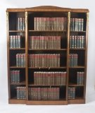 Antique French Mahogany Ormolu Mounted Breakfront Open Bookcase 19th C