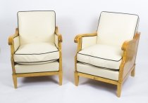 Antique Pair Swedish Biedermeier Revival Birchwood Armchairs C1900