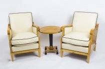Antique Suite Swedish Biedermeier Revival Pair Armchairs & Side table C1900