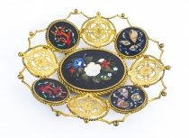 Antique Italian Pietra Dura Mounted Ormolu Basket 19th C