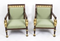 Pair Empire Revival Mahogany & Gilt Armchairs Late 20th Century
