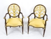 Antique Pair Napoleon III Style Mahogany & Giltwood Armchairs late 20th Century