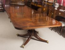 Antique Flame Mahogany Twin Pillar Regency Style Dining Table Circa1900