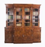 Antique English Flame Mahogany Four Door Breakfront Bookcase 19th C