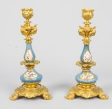 Antique Pair Sevres Porcelain Ormolu Candlesticks