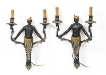 Stunning Pair of Blackamoor Twin Arm Sconces Wall Lights
