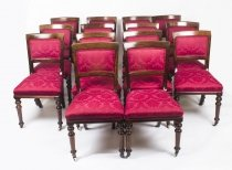 Antique Set 14 Victorian Mahogany Upholstered Back Dining Chairs 19th Century