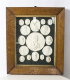 Antique set Grand Tour Intaglios Profile Portrait Medallions 19th C
