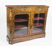 Antique Victorian Burr Walnut & MarquetryPier Cabinet Credenza 19th C