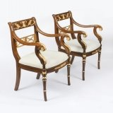 Vintage Pair Empire Revival Mahogany & Giltwood Armchairs late 20th Century