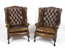 Bespoke Pair Leather Chippendale Wing Back Armchairs Walnut