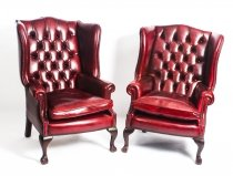 Pair Leather Chippendale Wing Back Armchairs Ruby Red