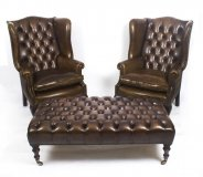 Pair Leather Chippendale Wing Back Armchairs with large stool coffee table