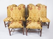 Bespoke Set 10 Upholstered High Back Dining Chairs 20thC