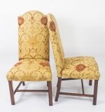 Bespoke Pair Upholstered High Back Dining Side Chairs 20th C