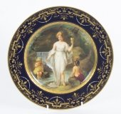 Antique Vienna Porcelain Cabinet Plate Bidenschild mark 19th C