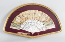 Antique French Hand Painted Mother Pearl Fan 19th C
