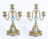 Antique Pair Sevres Bleu Celeste Porcelain & Ormolu Candelabra 19th C