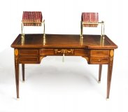 Antique Inlaid Writing Table Desk With Brass Book Troughs 19th C