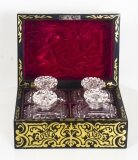 Antique French Ebonised Cut Brass Boulle Perfume Bottle Box