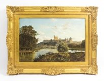 Antique Oil Painting & 34 Windsor Castle& 34 Edmund John Niemann 19th C