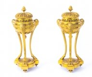 Antique Pair French Ormolu Cassolettes C1870