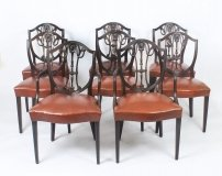 Antique Set 8 English Hepplewhite Shield Back Dining Chairs 19th C