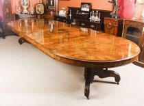 Antique 13ft Victorian Burr Walnut Marquetry Inlaid Dining Table 19th C
