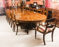 Antique Victorian Burr marquetry Walnut Dining Table C1880 & 14 chairs
