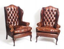 Pair Leather Queen Anne Wing Back Armchairs Burnt Amber