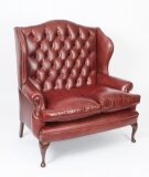 Bespoke English Leather Queen Anne Club Settee Sofa Chestnut