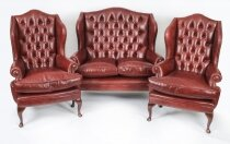 Bespoke English Leather Queen Anne Sofa & Pair Armchairs Chestnut