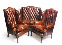 English Leather Queen Anne Sofa & Pair Armchairs Burnt Amber