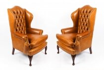 Bespoke Pair Leather Queen Anne Wingback Armchairs Bruciato