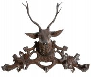 Antique Hand Carved Black Forest Stag& 39 s Head Coat Rack 19th C