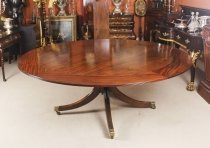 Vintage 194cm Diam Mahogany Jupe Dining Table & Leaf Cabinet. Mid 20th C