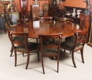 Vintage 194cm Diam Mahogany Jupe Dining Table, Leaf Cabinet & 8 Chairs