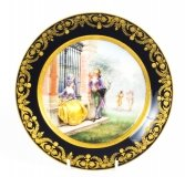 Antique French Sevres Hand painted Porcelain Gilt Plate 19th C
