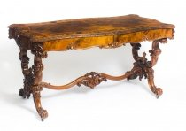 Antique Victorian Burr Walnut & Marquetry Writing Table Desk 19th C