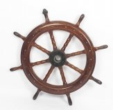 Antique Eight Spoke 90cm diam Mahogany Ships Wheel, 19th Century