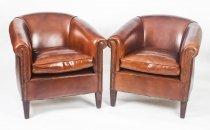Pair English Handmade Amsterdam Leather Arm Chairs BBA