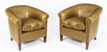Bespoke Pair English Handmade Amsterdam Leather Arm Chairs Saddle