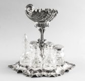 Antique Spectacular Silver Plated Shell Centrepiece Cruet Set 19th C