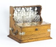 Antique English Victorian Oak Three Crystal Decanter Tantalus C1870