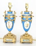 Antique Pair Large French Bleu Celeste Sevres Vases Lamps 19th C