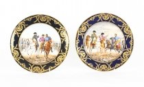 Antique Pair Porcelain Cabinet Plates of Napoleon signed Edouard Garnier 19th C