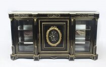 Antique Napoleon III Pietra Dura Ebonised Credenza